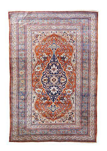 "Persian Silk Heriz Rug, 4'3"" x 6'5"""