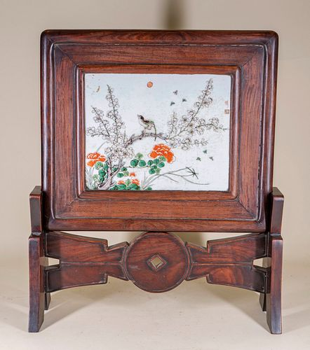 Famille Verte Porcelain / Huanghuali 'Money' Table Screen