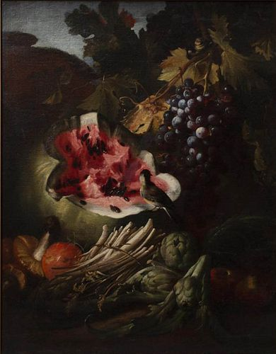 Still-Life with Watermelon, Grapes and Bird
