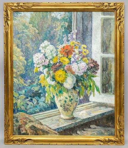 French School, Still Life of Flowers on Windowsill