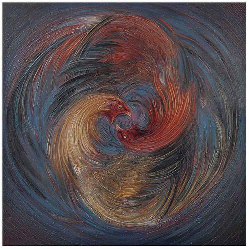 LUIS STREMPLER, Constelación cósmica del valor, Firmado y fechado 1962 al frente y al reverso, Óleo sobre tela, 130.5 x 130 cm | LUIS STREMPLER, Const