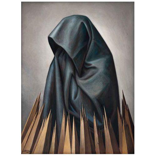 JORGE MARTÍNEZ LÓPEZ, Sin título, Firmada y fechada 1989, Piroxilina sobre madera, 81 x 60 cm | JORGE MARTÍNEZ LÓPEZ, Untitled, Signed and dated 1989,