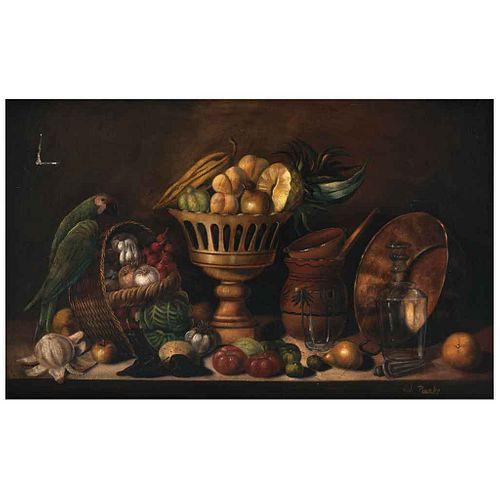 JOSÉ DE JESÚS PARRA PARRECH, Bodegón, Firmado, Óleo sobre tela, 82 x 131 cm | JOSÉ DE JESÚS PARRA PARRECH, Bodegón, Signed, Oil on canvas, 32.2 x 51.5