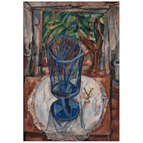 "ALFONSO MICHEL, La copa azul, Firmado, Óleo sobre tela, 56 x 39 cm | ALFONSO MICHEL, La copa azul, Signed, Oil on canvas, 22 x 15.3"" (56 x 39 cm)"