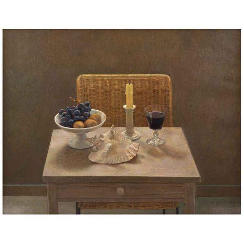 RAFAEL CIDONCHA, Naturaleza muerta con vino, Firmado y fechado 94, Óleo sobre tela, 72.5 x 92 cm, Con constancia | RAFAEL CIDONCHA, Naturaleza muerta