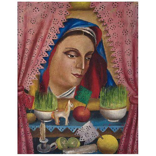 MARÍA IZQUIERDO, La Dolorosa, Firmado y fechado 47, Óleo sobre celotex, 38 x 30 cm, Con constancia | MARÍA IZQUIERDO, La Dolorosa, Signed and dated 47