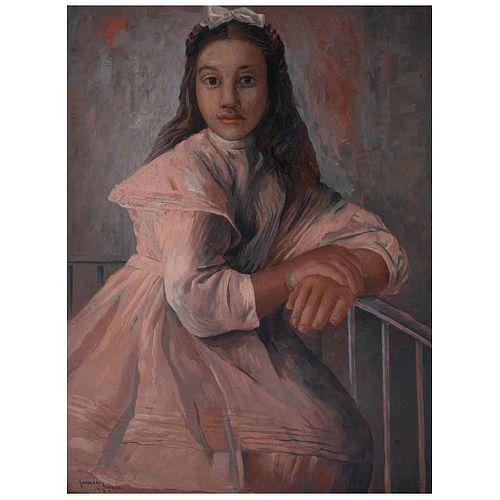 JESÚS GUERRERO GALVÁN, Niña en rosa, Firmado y fechado 1941, Óleo sobre madera, 58 x 44 cm, Con constancia | JESÚS GUERRERO GALVÁN, Niña en rosa, Sign