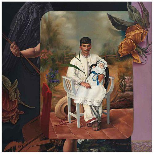 ESTEBAN AZAMAR, Muerte - Amor que hasta mi puerta tocas, 1989, Firmado, Óleo sobre tela, 124 x 122 cm, Con constancia | ESTEBAN AZAMAR, Muerte - Amor
