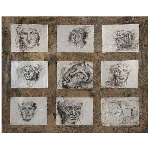 ROCÍO MALDONADO, 9 Cabezas, Firmado y fechado 82, Tinta china sobre papel de arroz sobre papel de estraza, 186 x 230 cm, Con constancia | ROCÍO MALDON