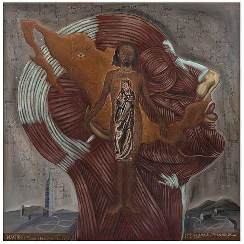 GUSTAVO MONROY, Nación, Firmado y fechado 98 al frente. Firmado y fechado 1998 al reverso, Óleo sobre tela, 180 x 180 cm, Constancia | GUSTAVO MONROY,