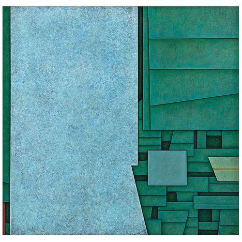 GUNTHER GERZSO, Muro azul. Chiapas, Firmado y fechado 77 al frente. Firmado y fechado VI-77 al reverso, Óleo/tela, 97x100 cm,Constancia | GUNTHER GERZ