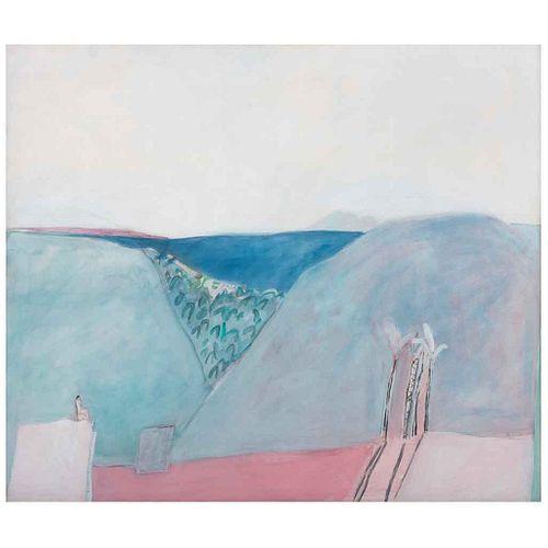 JOY LAVILLE, Mujer viendo una casa, Firmado, Acrílico sobre tela, 120 x 140 cm, Con constancia | JOY LAVILLE, Mujer viendo una casa, Signed, Acrylic o