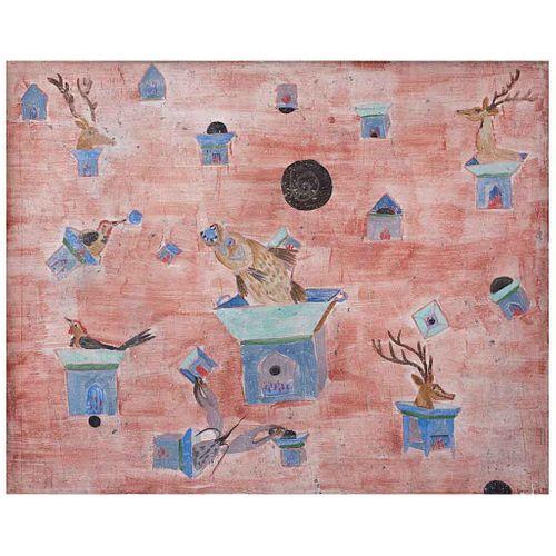 SERGIO HERNÁNDEZ, Animales y anafres, Firmado y fechado 99, Fresco sobre soporte de metal, 80 x 100 cm, Con constancia | SERGIO HERNÁNDEZ, Animales y