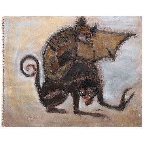 FRANCISCO TOLEDO, El más allá, 2003, Firmado, Pastel, gouache, tinta y hoja de oro sobre papel, 34.2 x 43 cm, Con constancia | FRANCISCO TOLEDO, El má
