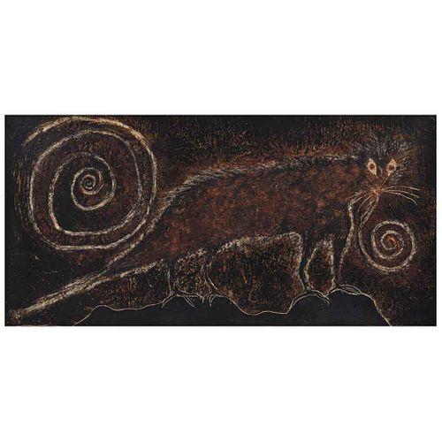 SERGIO HERNÁNDEZ, Oso hormiguero, 1991, Sin firma Cera sobre amate sobre tela, 58 x 117 cm, Con constancia   SERGIO HERNÁNDEZ, Oso hormiguero, 1991, U