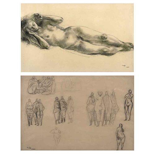 FRANCISCO ZÚÑIGA, Sin título, Firmado y fechado 1964 al frente y 1960 al reverso, Carboncillo y lápiz/papel, 40 x 64 cm, Doble vista