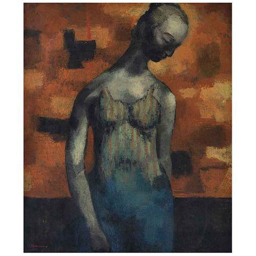 ENRIQUE ECHEVERRÍA, La bailarina, ca. 1955, Firmado, Óleo sobre tela, 91 x 76.5 cm   ENRIQUE ECHEVERRÍA, La bailarina, ca. 1955, Signed, Oil on canvas