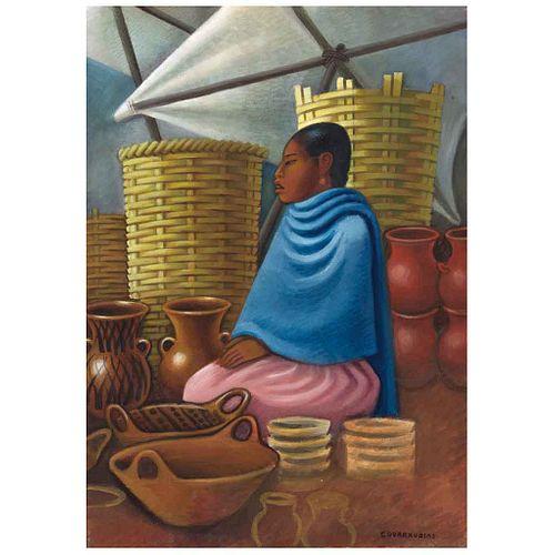 MIGUEL COVARRUBIAS, India en mercado, Firmado, Gouache y acuarela sobre papel, 56.5 x 40.5 cm, Con carta de autenticidad | MIGUEL COVARRUBIAS, India e