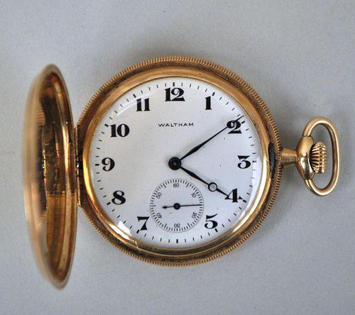 14K Gold Watham Hunter Case Pocket Watch