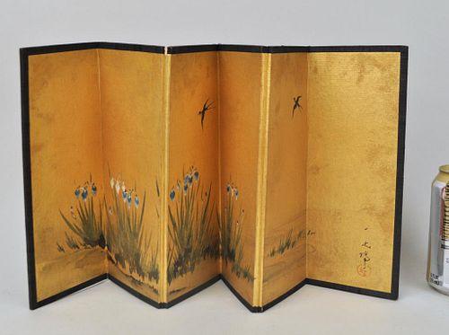 Miniature Japanese Six Panel Folding Table Screen