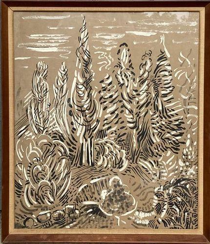 "Karl Schrag, Gouache ""Trees, Light & Movement"""