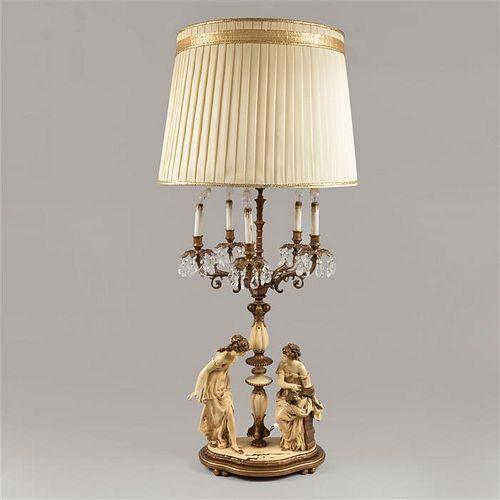 Lámpara de mesa. SXX. Fundición en antimonio,