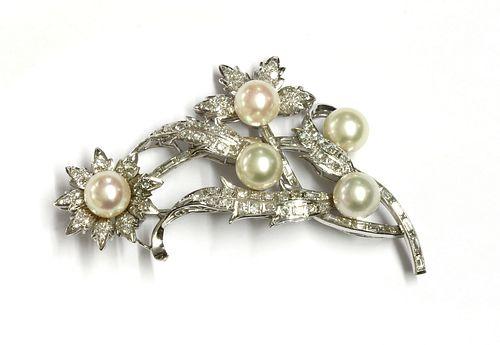 A cultured pearl and diamond spray brooch,