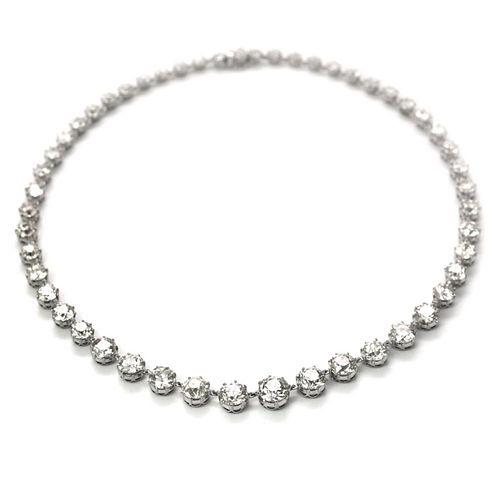 51.08 Ct European Cut Diamond Tennis Necklace
