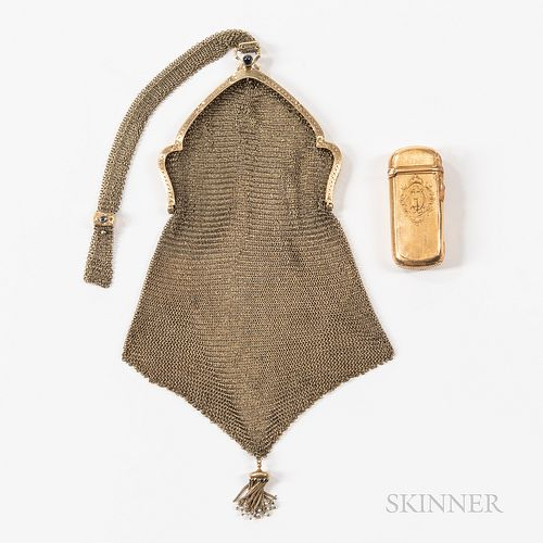 Two Gold Items, 14kt gold mesh coin purse with loop handle and bottom tassel, overall lg. 13, 62.0 dwt; French 18kt gold matchsafe, mak