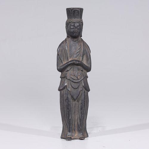 Antique Japanese Kamakura Period Bronze Standing Figure