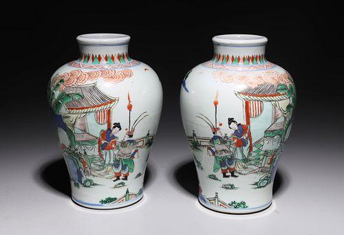 Pair Antique Chinese Enameled Porcelain Vases