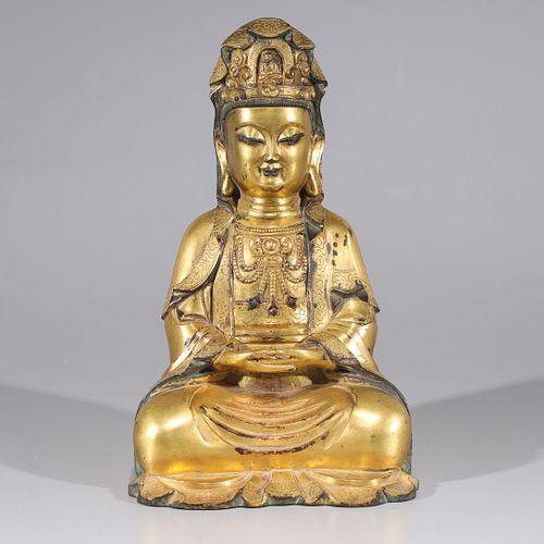 Antique Chinese Gilt Bronze Seated Buddha