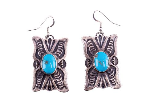Navajo Shawn Cayatino Silver & Turquoise Earrings