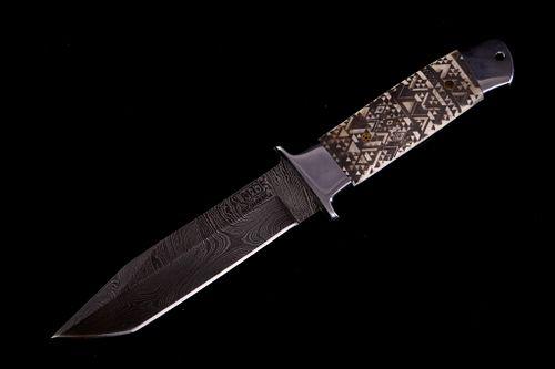 Navajo Pattern Scrimshaw Damascus Knife of Bozeman