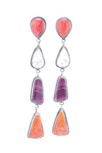 Navajo Elouise Kee Silver & Multi-stone Earrings