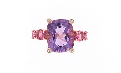 Amethyst Topaz & Diamond 14k Rose Gold Ring