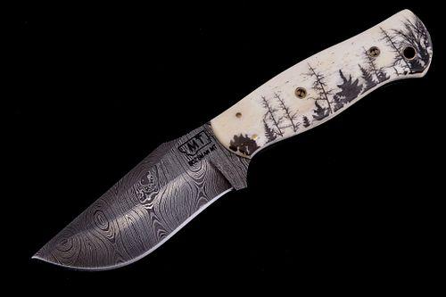 Montana Forest Scrimshaw Damascus Knife Bozeman