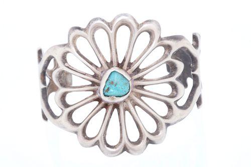 Navajo Silver & Turquoise Sand Cast Bracelet