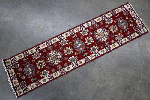 Kazak Persian Hand Knotted Wool Runner Rug 1930's