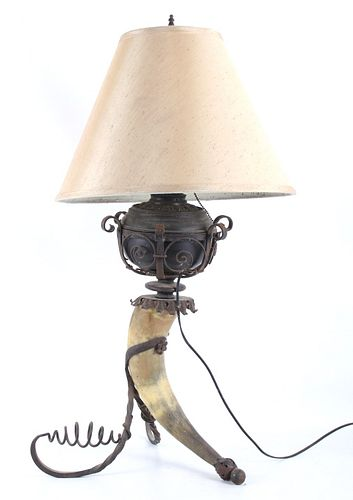Wrought Iron Steer Horn Electric Lamp c. 1920's