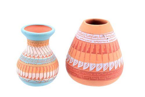 Navajo Polychrome Bud & Olla Signed Micro Pottery