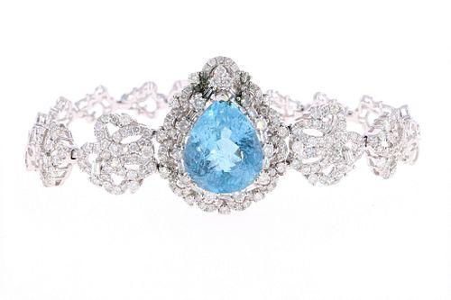 GIA Aquamarine Diamond & 18k White Gold Bracelet