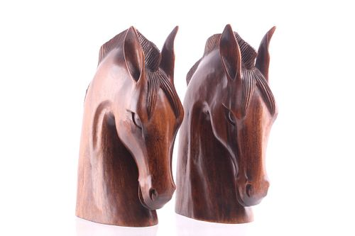 Pair Of Art Deco Style Carved Wood Horse Heads