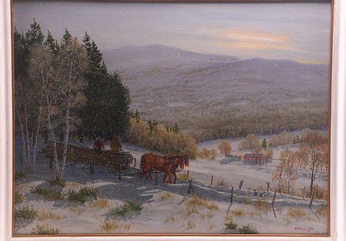 Edward Ray Original Framed Farm Landscape Painting