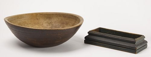 Early Painted Turned Bowl and Tray