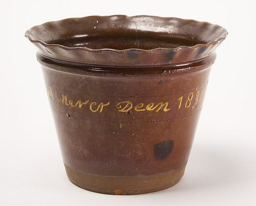 Redware Flower Pot - signed and dated 1831