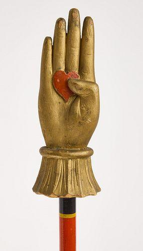 Wood Painted Hand Staff