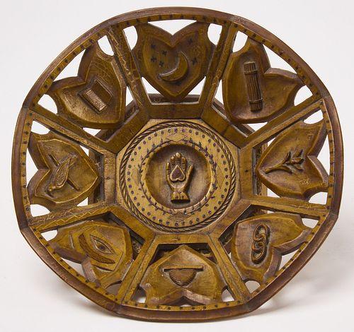Odd Fellows Folk Art Carved Tray