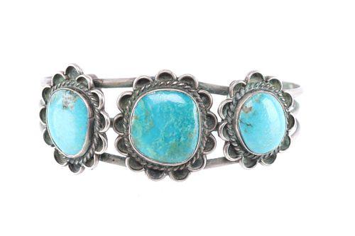 Navajo Silver Floral Conchos & Turquoise Bracelet