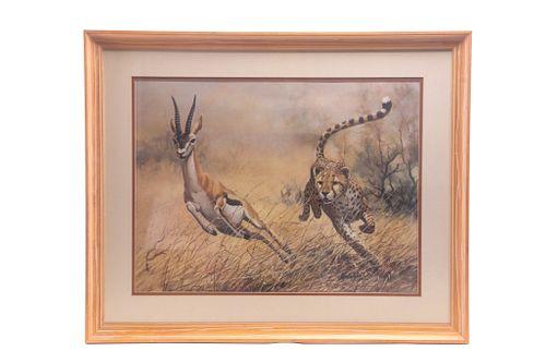 The Chase By Guy Coheleach Cheetah Hunt Print